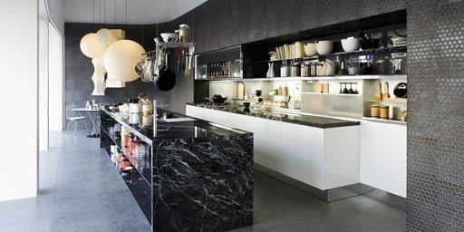 M rmol negro misterioso y sofisticado - Encimeras de marmol para cocinas ...