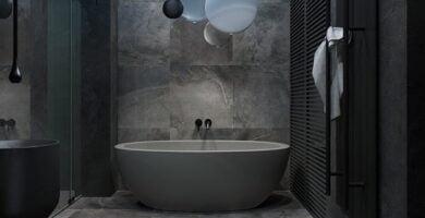 Cuarto de baño de mármol gris